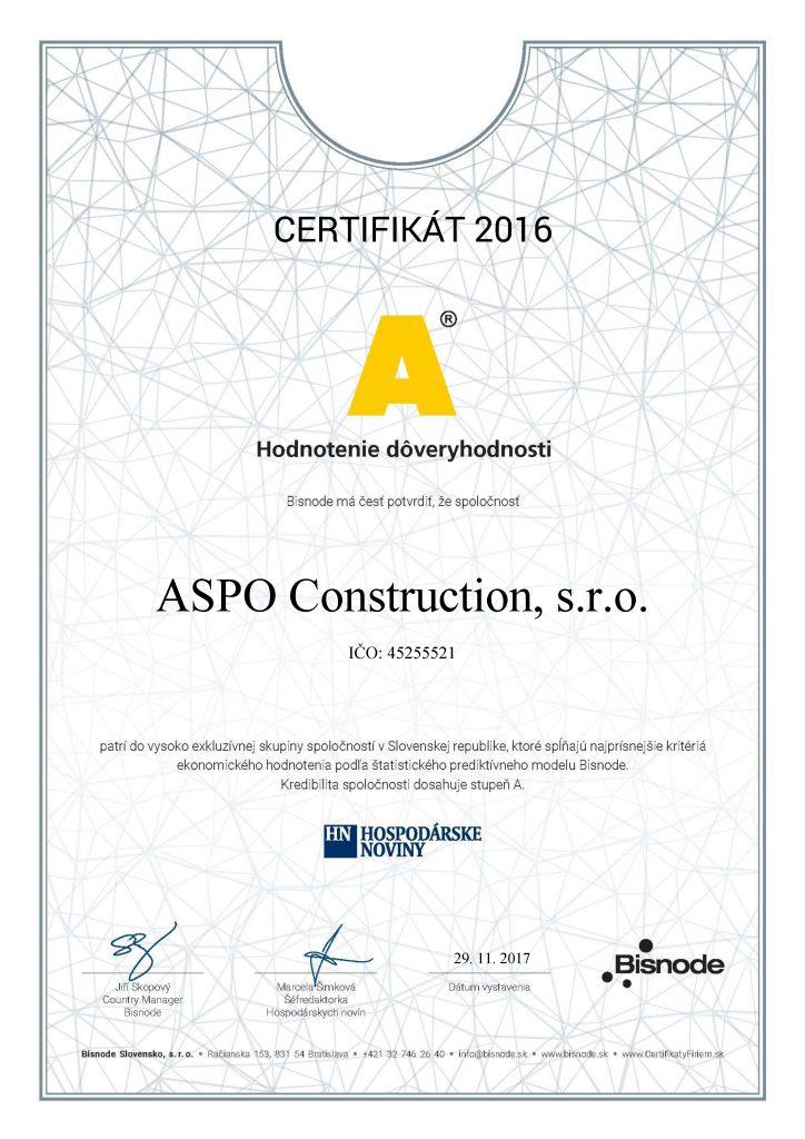 certifikat ASPO Construction, s